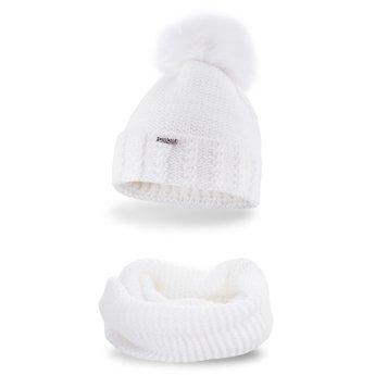 Komplet czapka komin gruby splot biały