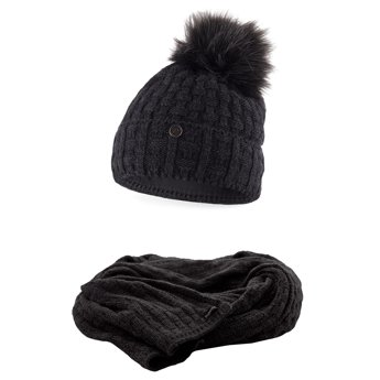 Komplet damski czapka szalik ciemnoszary