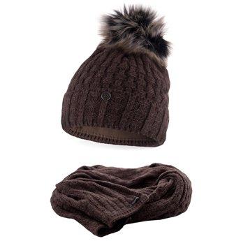 Komplet damski czapka szalik czekoladowy