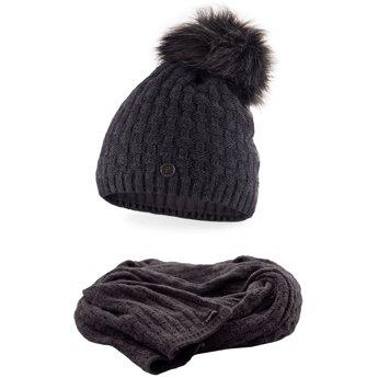Komplet damski luksus czapka szalik ciemnoszary