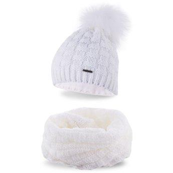 Komplet zimowy damski czapka komin biały