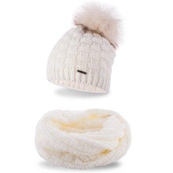 Komplet zimowy damski czapka komin ecru