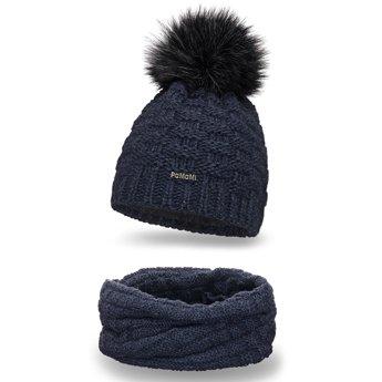 Komplet zimowy damski czapka komin granatowy