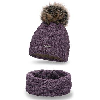 Komplet zimowy damski czapka komin śliwkowy