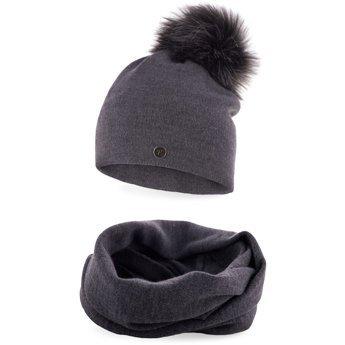 Komplet zimowy damski gładki czapka komin ciemnoszary