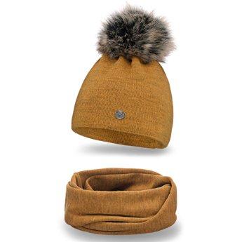 Komplet zimowy damski gładki czapka komin musztardowy
