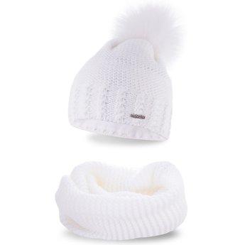 Komplet zimowy pompon czapka komin biały