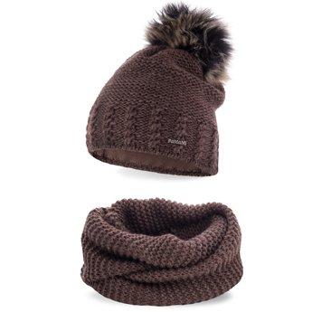 Komplet zimowy pompon czapka komin czekoladowy