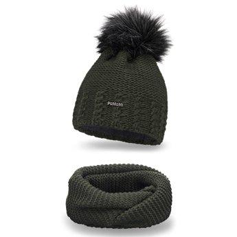 Komplet zimowy pompon czapka komin khaki